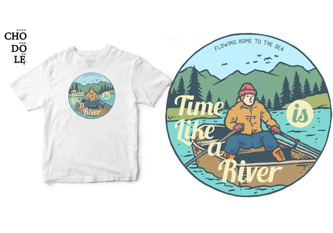 Áo thun unisex cotton 100% in hình Time is like a river.