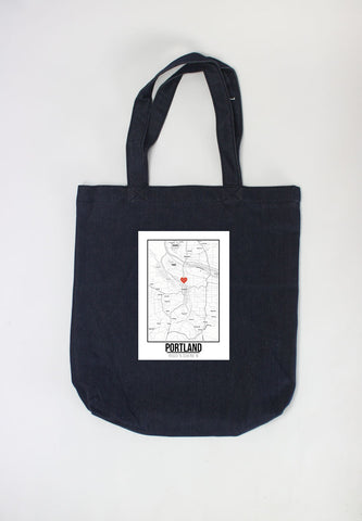Túi tote in hình Love City Map - Portland