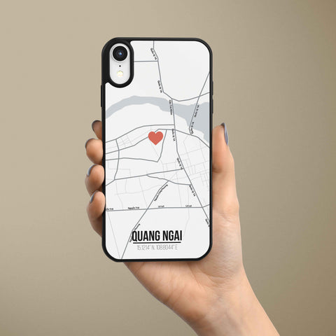 Ốp lưng  iphone in hình Love City Vietnam Map - Quang Ngai (đủ model iphone)