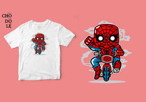 ÁO THUN TRẺ EM COTTON 100% IN HÌNH Super Heroes series - Spidey Mini Bike