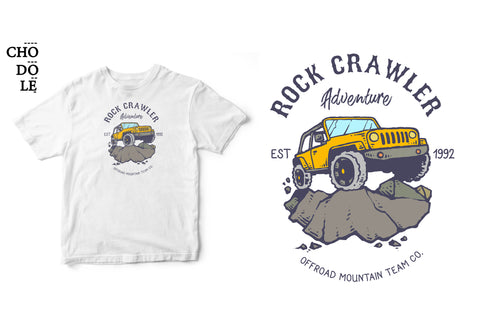 Áo thun unisex cotton 100% in hình Rock Crawler adventure