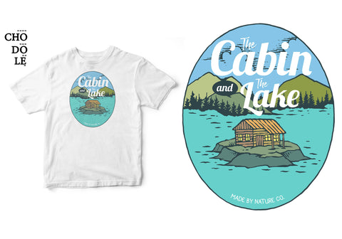 Áo thun unisex cotton 100% in hình The cabin and the lake