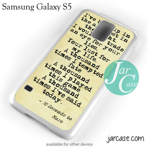 30 Seconds To Mars Lyrics 1 Phone case for samsung galaxy S3/S4/S5