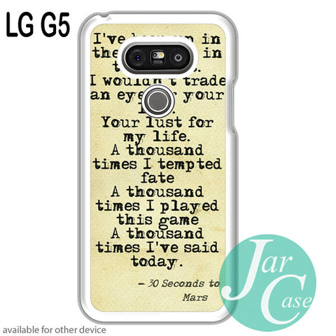 30 Seconds to Mars Lyrics 1 for LG G5 and other devices - JARCASE