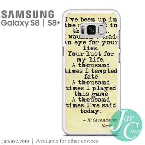 30 Seconds to Mars Lyrics 1 Phone Case for Samsung Galaxy S8 & S8 Plus - JARCASE