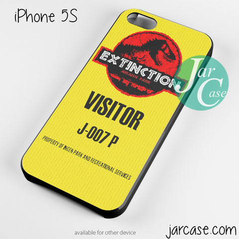 jurassic park visitor ticket Phone case for iPhone 4/4s/5/5c/5s/6/6 plus