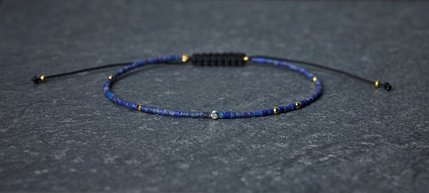 Diamond with Lapis & Gold Bracelet
