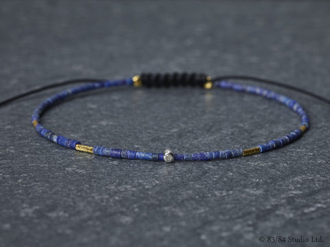 Diamond with Lapis & Gold Tube Bracelet
