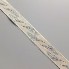 2 metres of Cream Cotton Ribbon with feather print - 25mm wide