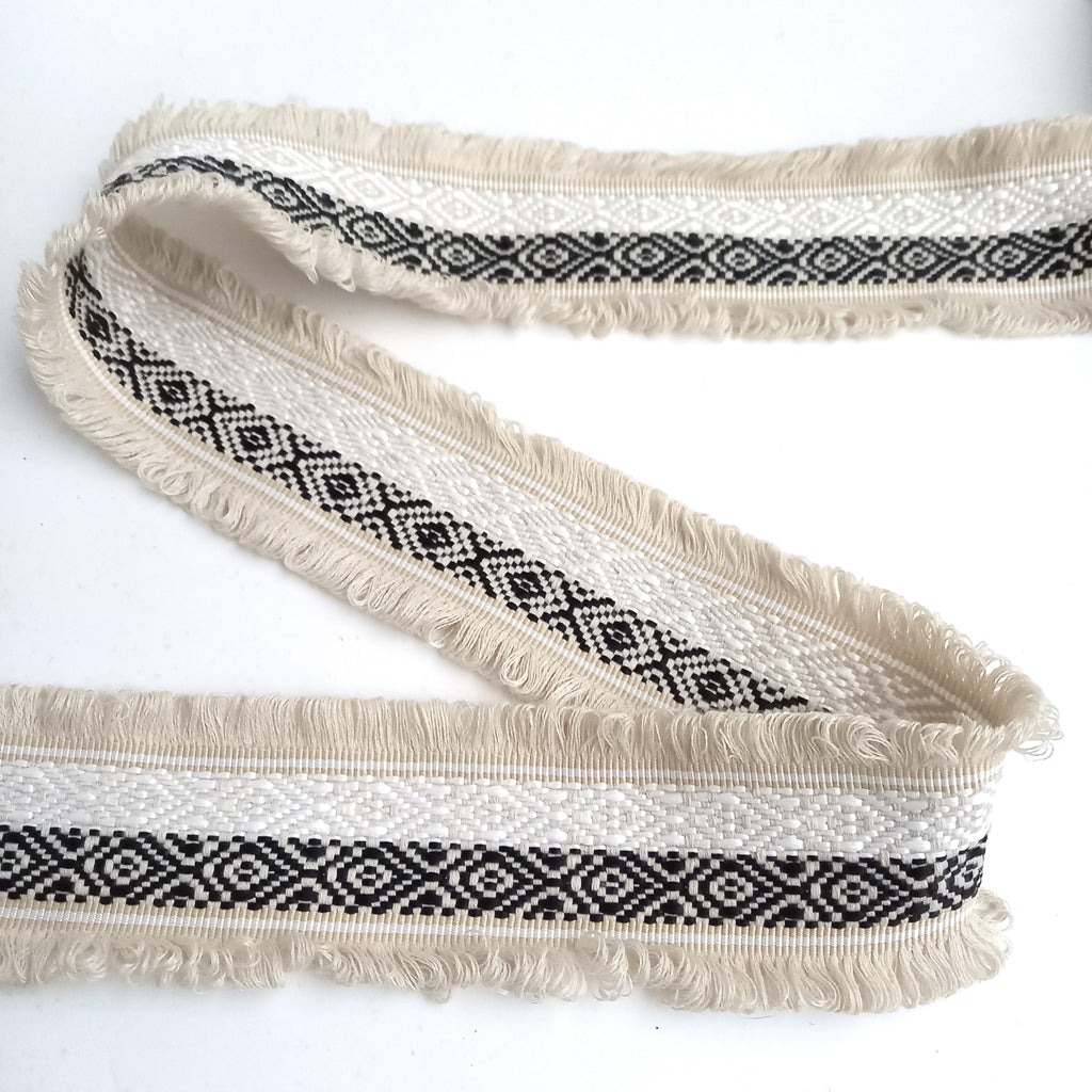 Nomad Earth Tones Woven Jacquard Double Edge Fringe Trim