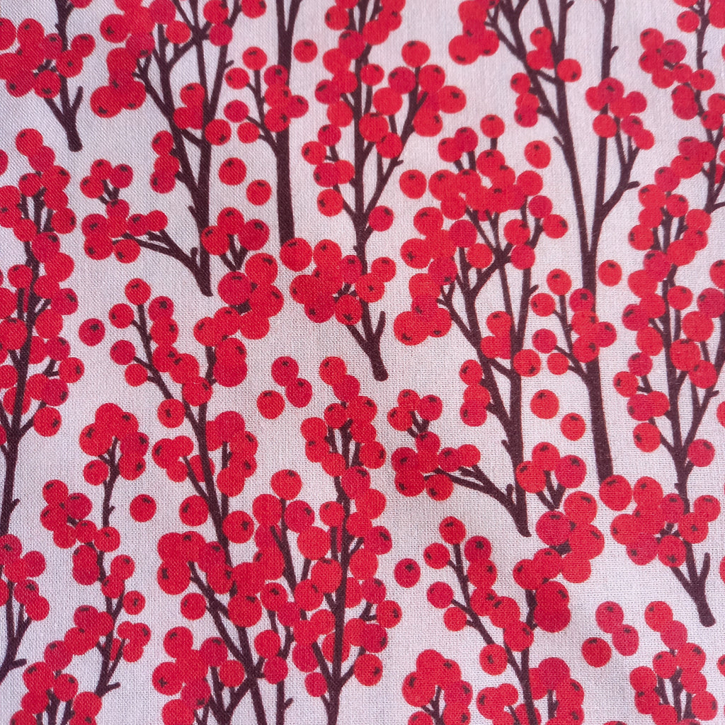 Red Berries Printed Cotton Fabric - 100% Cotton