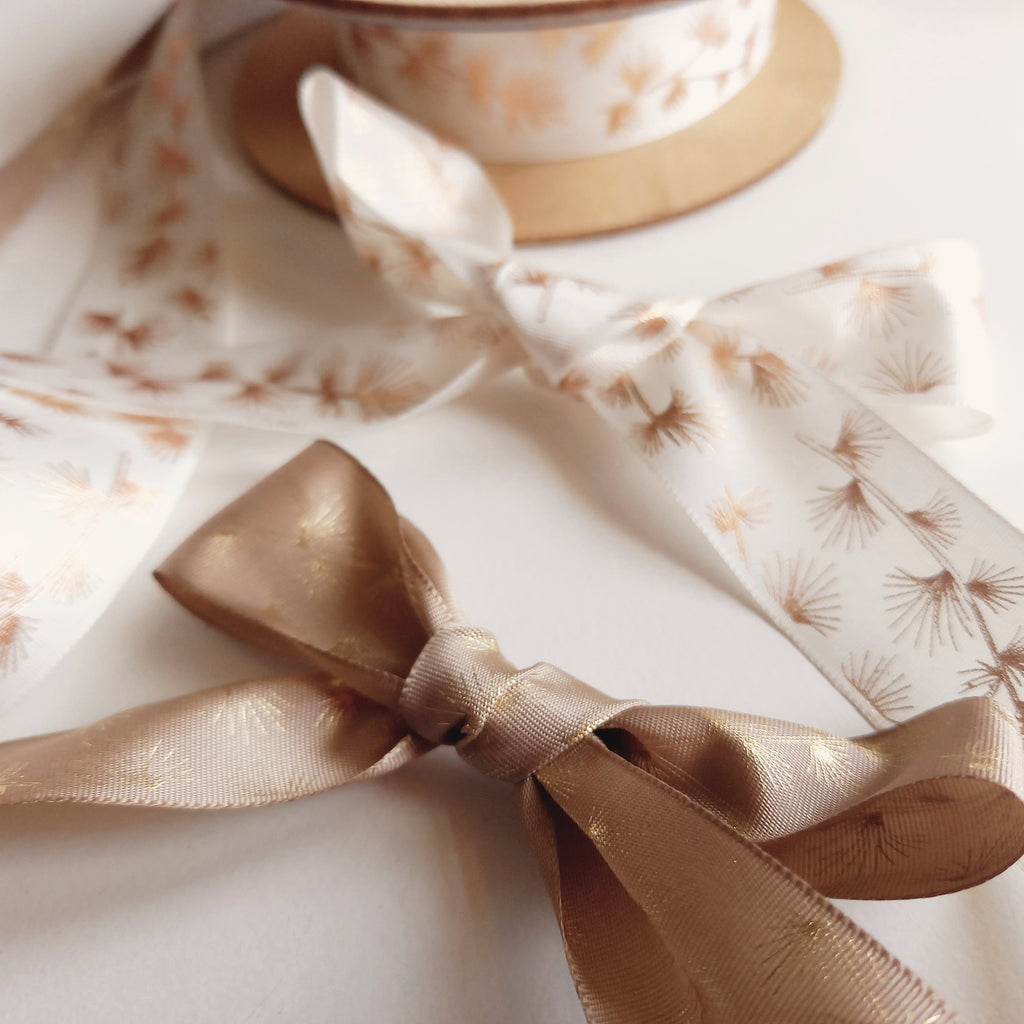 2m of Branch Print Ribbon – Ivory & Copper, Beige & Gold