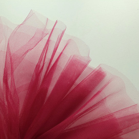 Burgundy Red 300cm Wide Fine Tulle Fabric