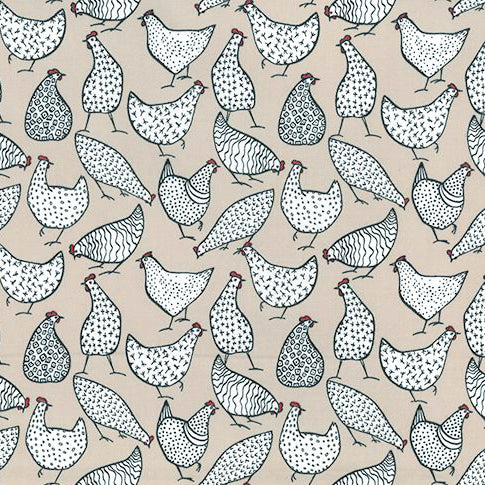 Patterned Hens Beige Printed Poplin Fabric - 100% Cotton