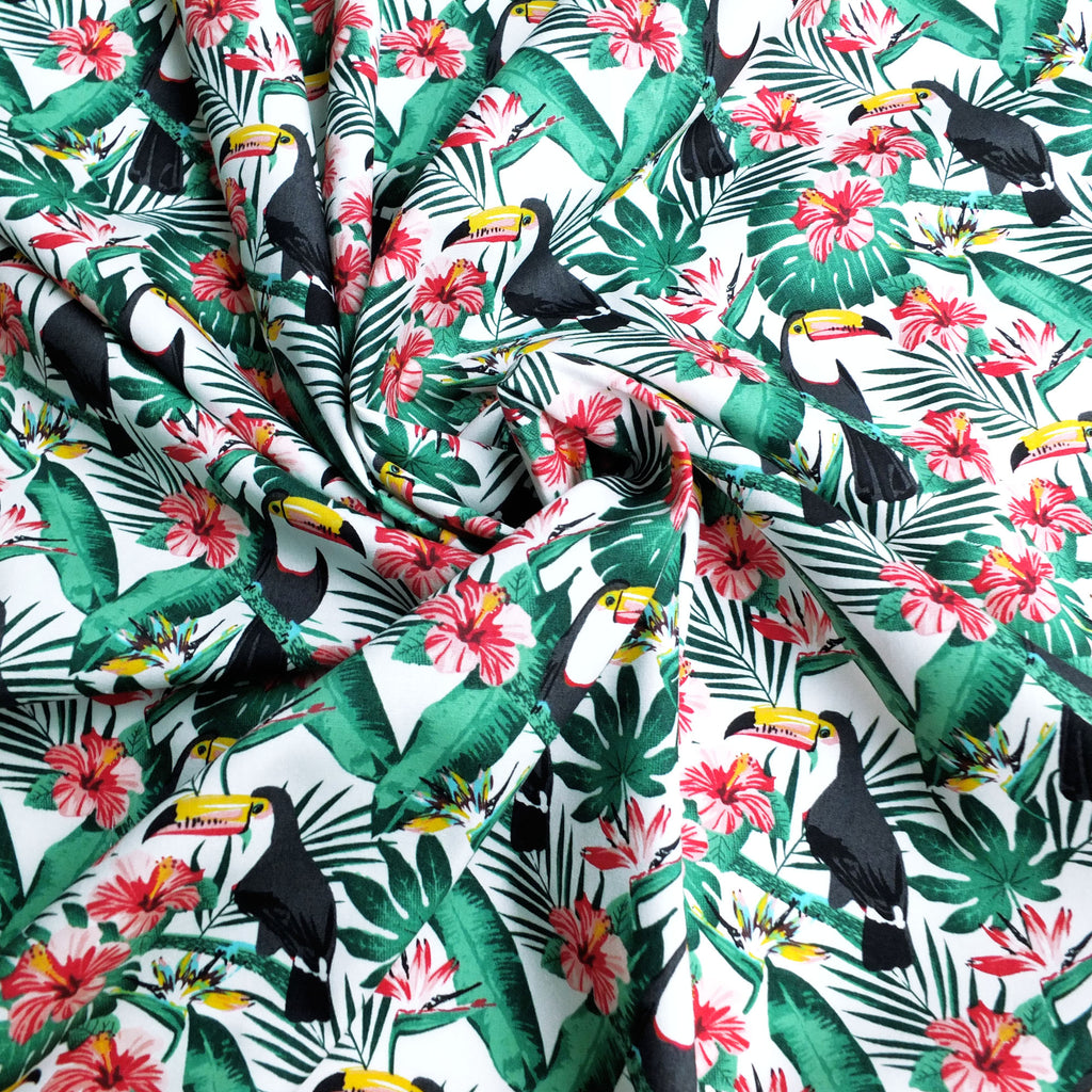 Black Toucan Birds, Tropical Flowers & Leaves Printed Poplin Fabric - 100% Cotton