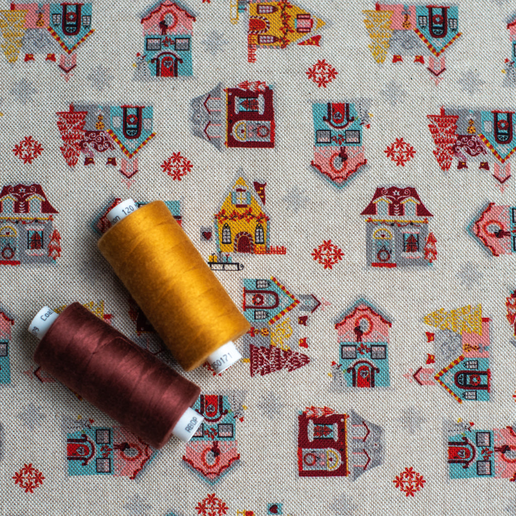 Canvas Fabric Printed with Festive Christmas Houses