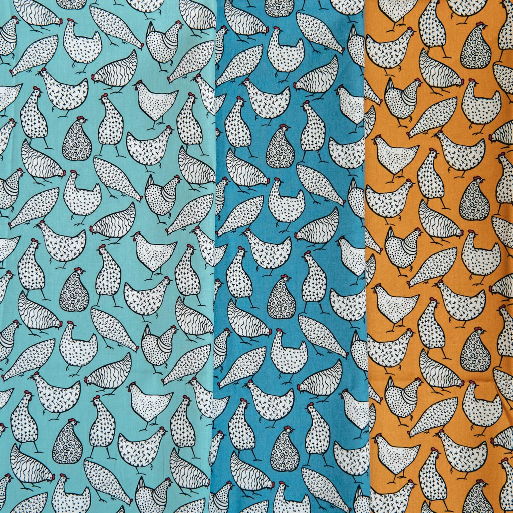 Patterned Hens on  Blue  Printed Poplin Fabric - 100% Cotton