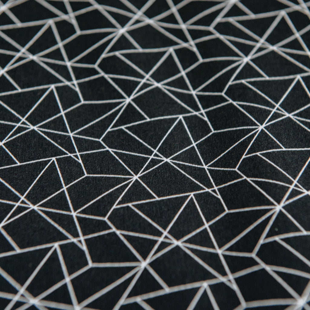 Geometric Origami Print Cotton Poplin Fabric - Black & White