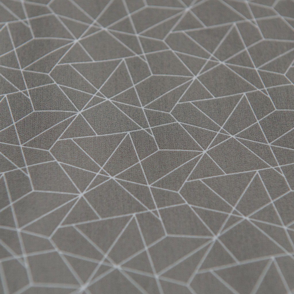Geometric Origami Print Cotton Poplin Fabric - Grey & White