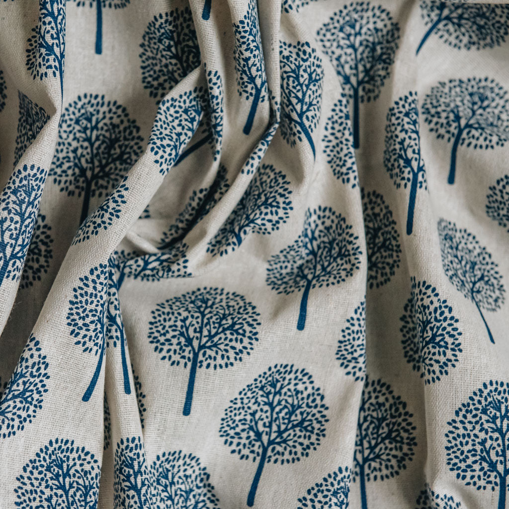 Navy Blue Tree Print on Cotton & Linen Light Canvas Fabric
