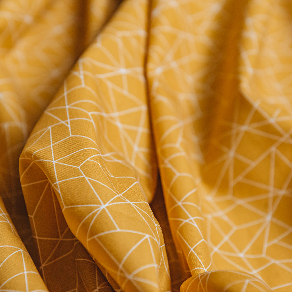 Geometric Origami Print Cotton Poplin Fabric - Mustard Yellow & White