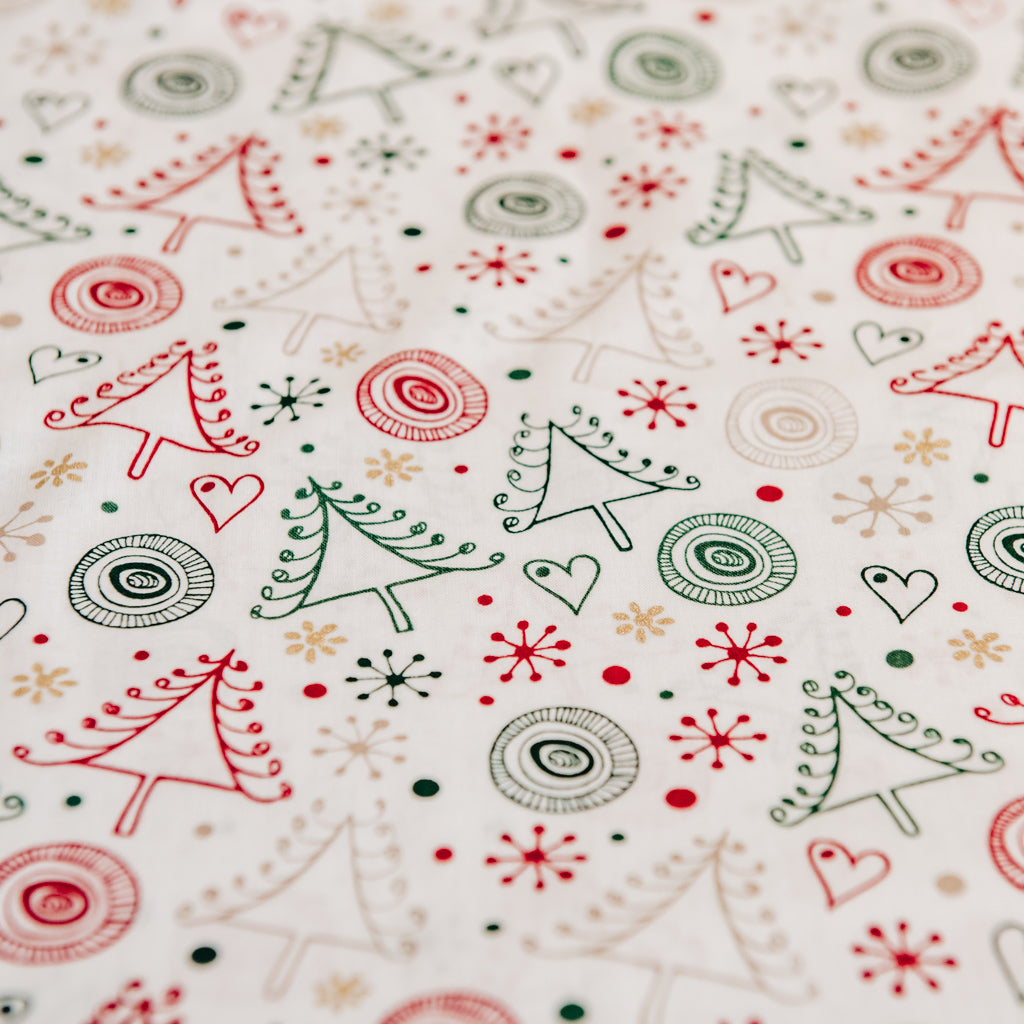 Modern Stylized  Christmas Trees and Stars Print 100% Cotton Fabric