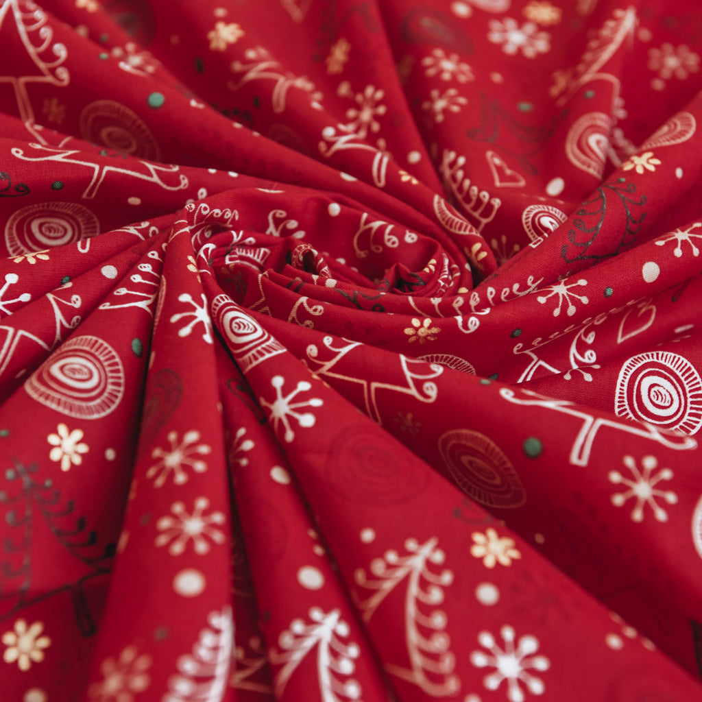 Swirly Christmas Trees and Stars Print 100% Cotton Fabric