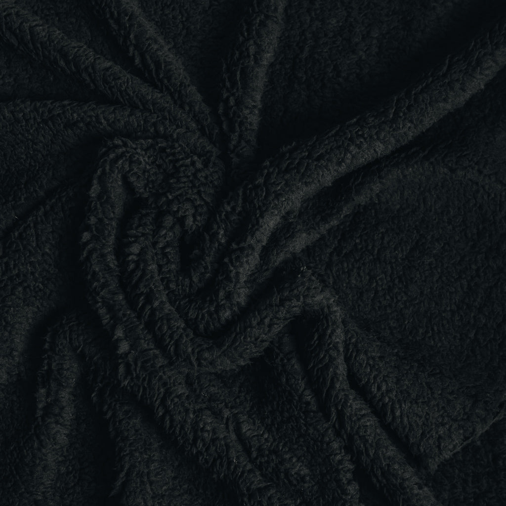 Sherpa Fleece Fabric - Black