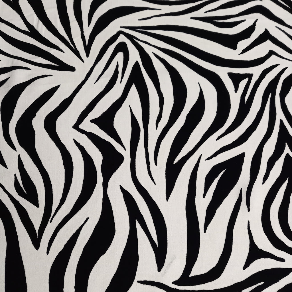 Zebra Stripe Linen Look Fabric – Black & Ivory