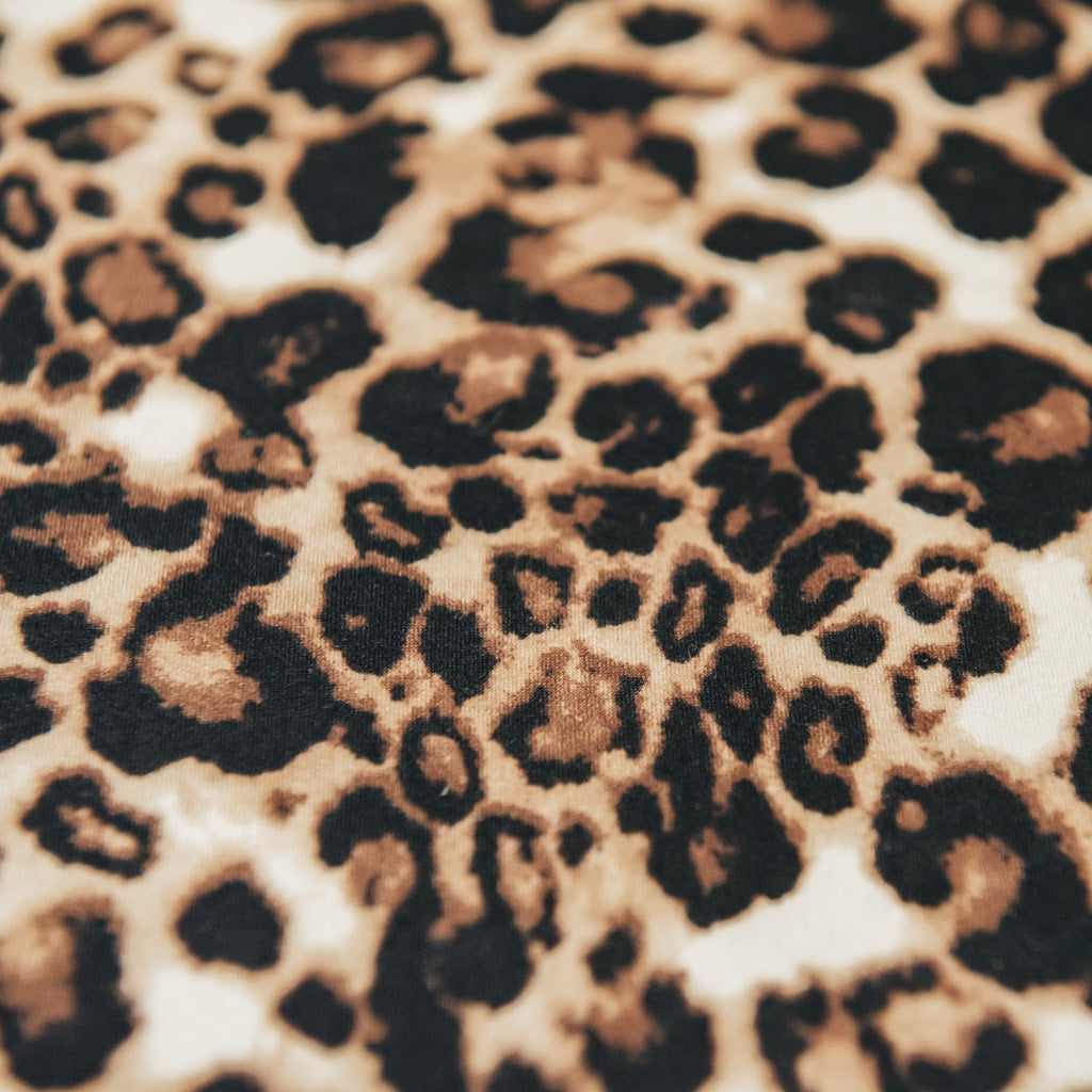 Leopard Animal Print Brushed Stretch Jersey Fabric – Black Brown & Cream