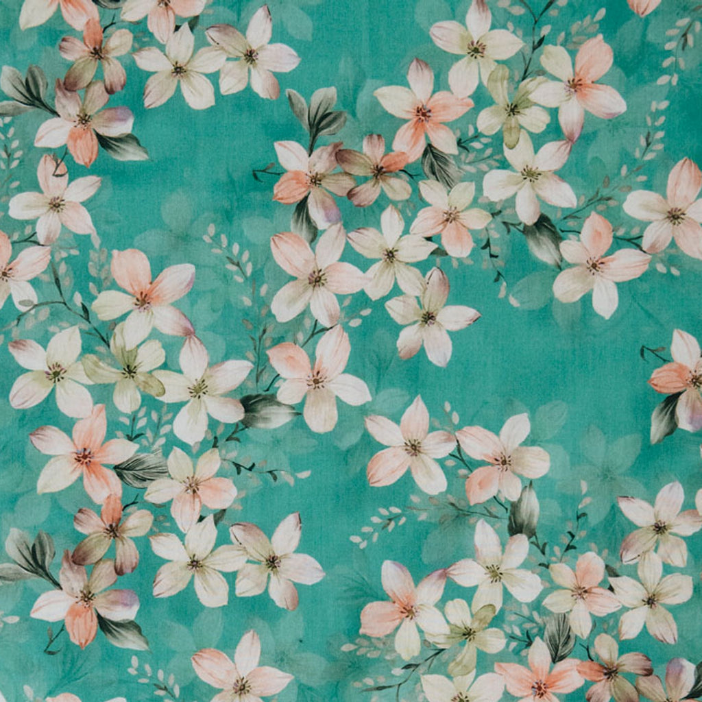 Turquoise Floral Printed Cotton Lawn
