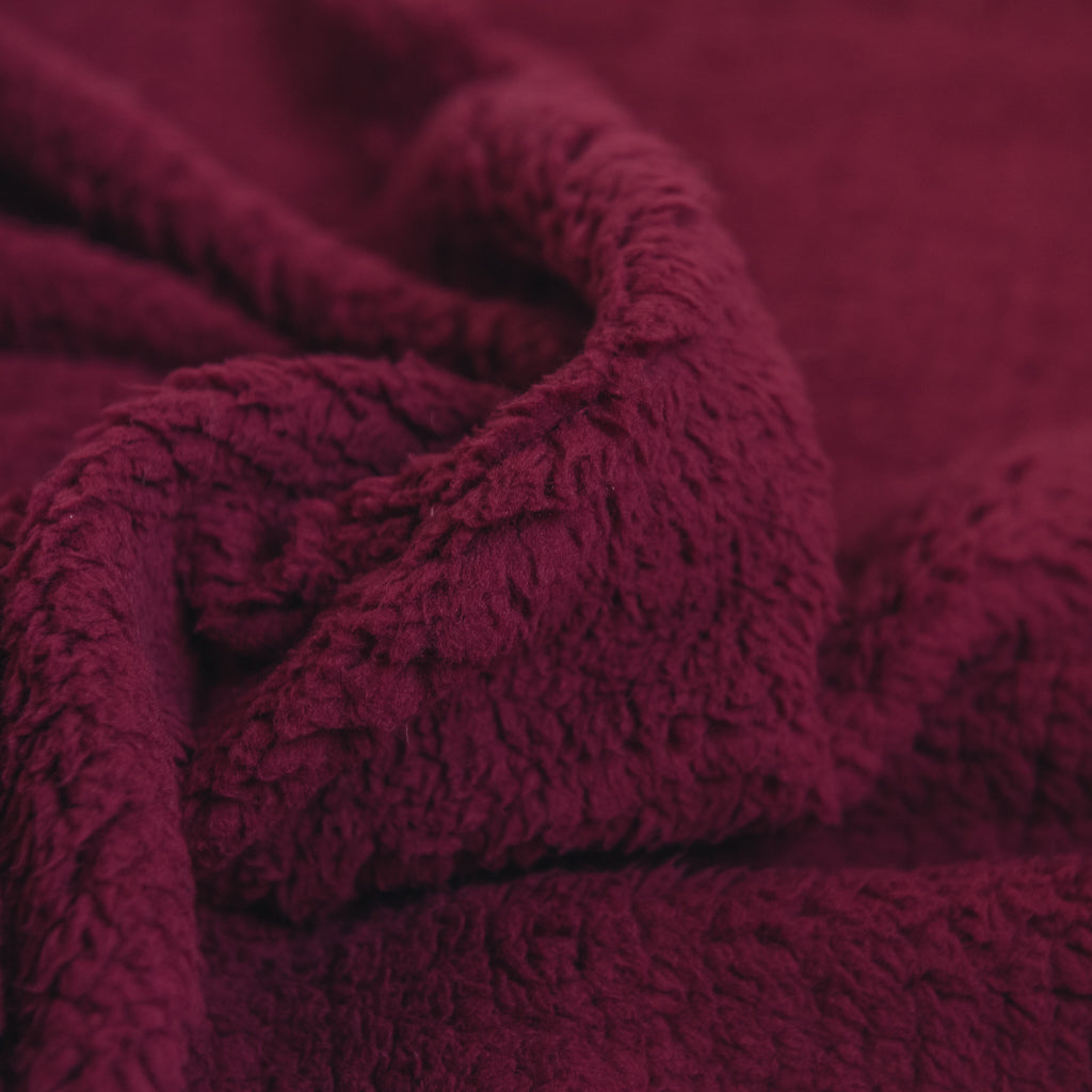 Sherpa Fleece Fabric - Wine red