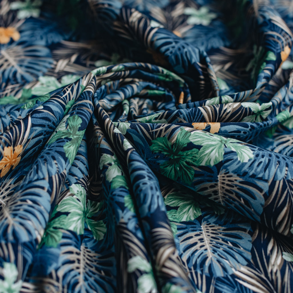 Tropical Leaves Printed Cotton Poplin Fabric - Navy & Green