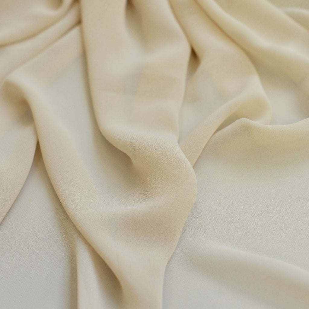 Antique Cream Beige Chiffon Fabric
