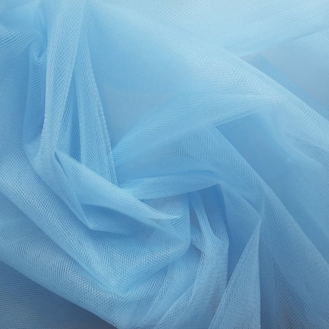 Pastel Blue 300cm Wide Fine Tulle Fabric