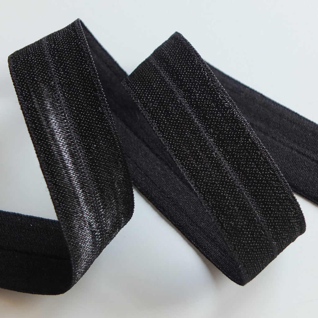 Fold over elastic binding - 18mm Black