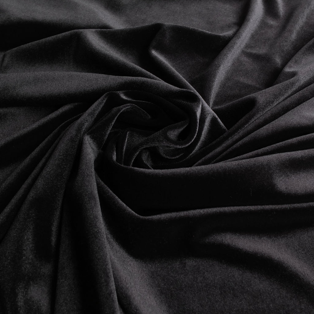 Black Soft Stretch Velvet Drape Dress Fabric - Rich Plain Knitted Jersey Velour