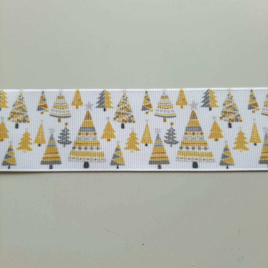 2 metres of Christmas Trees Grosgrain Christmas Ribbon White, Mustard Yellow & Grey - 38mm wide