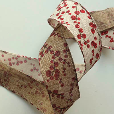 Burlap Hessian Style Wired Edge Ribbon Glitter Red Berries Print - 38mm wide