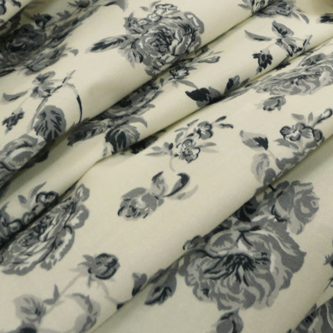 Cream and Grey Floral Printed 100% Cotton Poplin