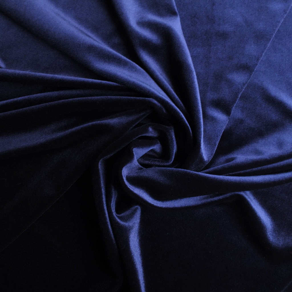 Navy Blue Soft Stretch Velvet Dress Fabric - Rich Plain Knitted Jersey Velour
