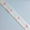 2 metres of Cream Cotton Ribbon with Flamingo Print - 25mm wide