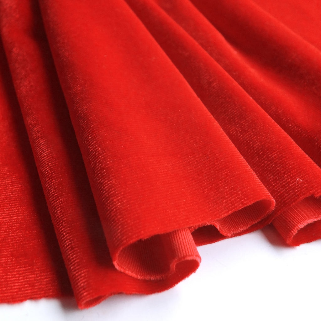 Bright Red Soft Stretch Velvet Dress Fabric - Rich Plain Knitted Jersey Velour