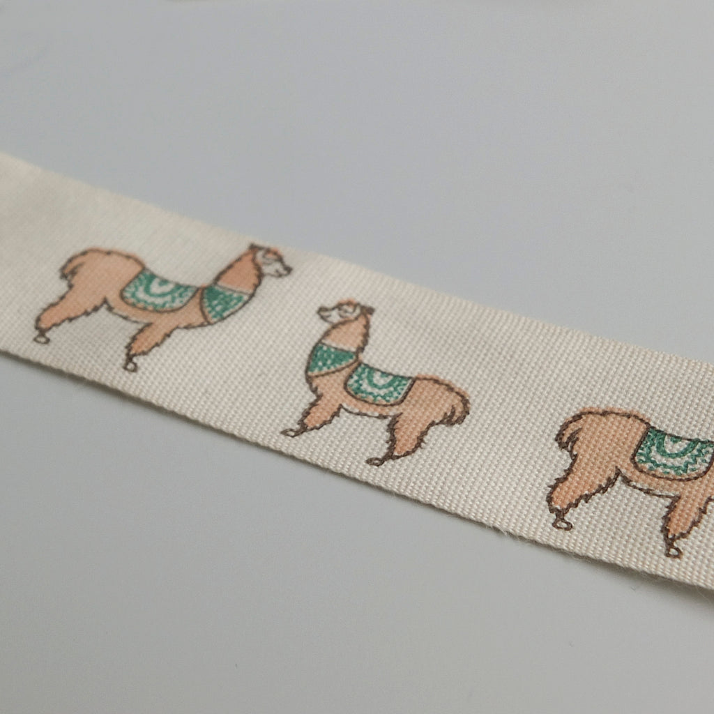 2 metres of Cream Cotton Ribbon with Llama Print - 25mm wide