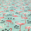 Mint Green Flamingo Printed Fabric - 100% Cotton Poplin