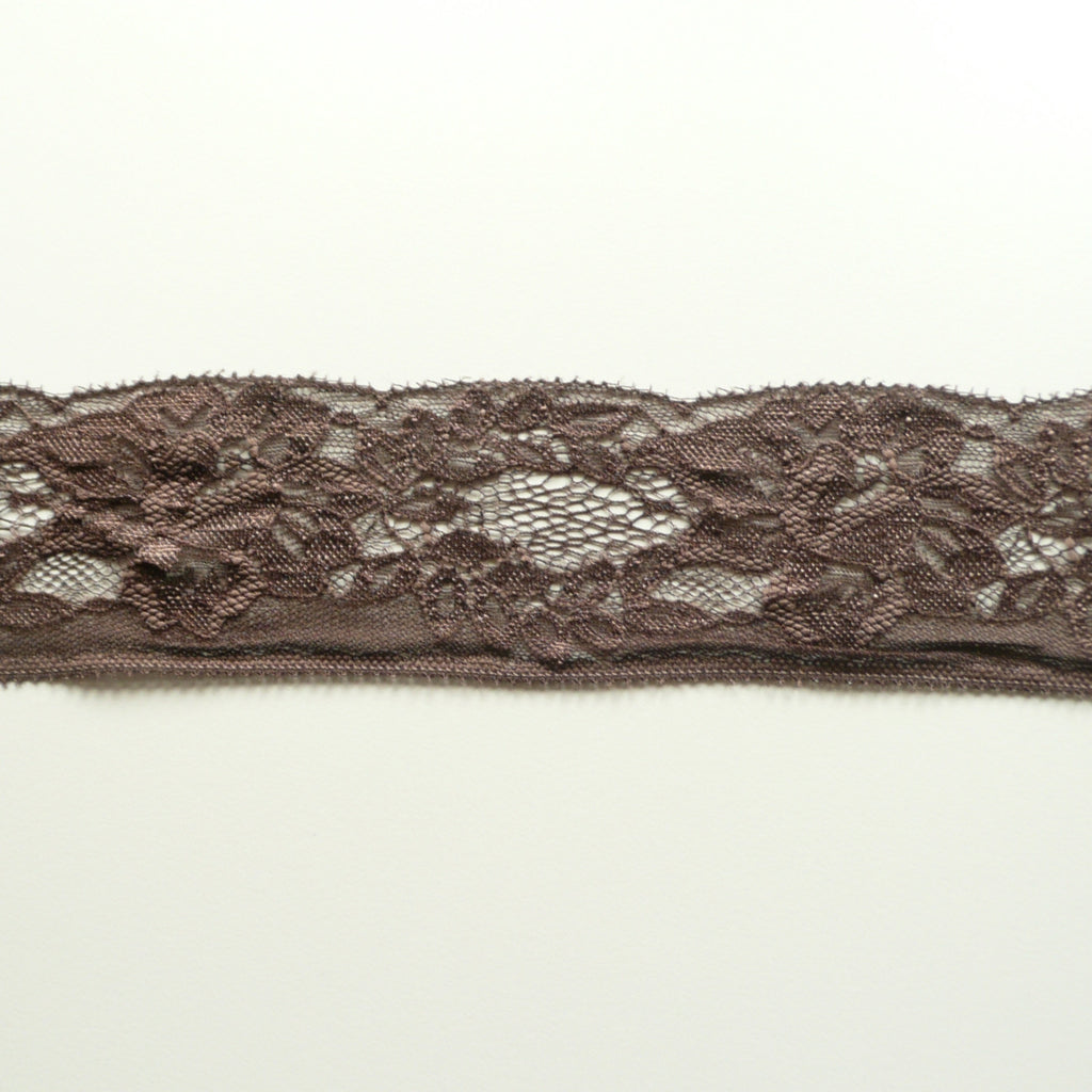 Mocha Brown Dainty Lace Edge Trim - 65mm Wide