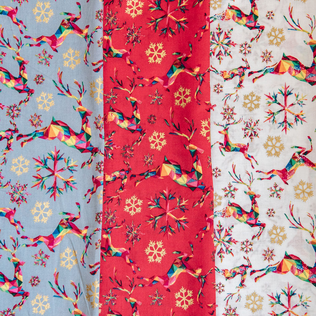 Rainbow Reindeer Multicoloured Digital Print on Red Christmas Fabric - 100% Cotton