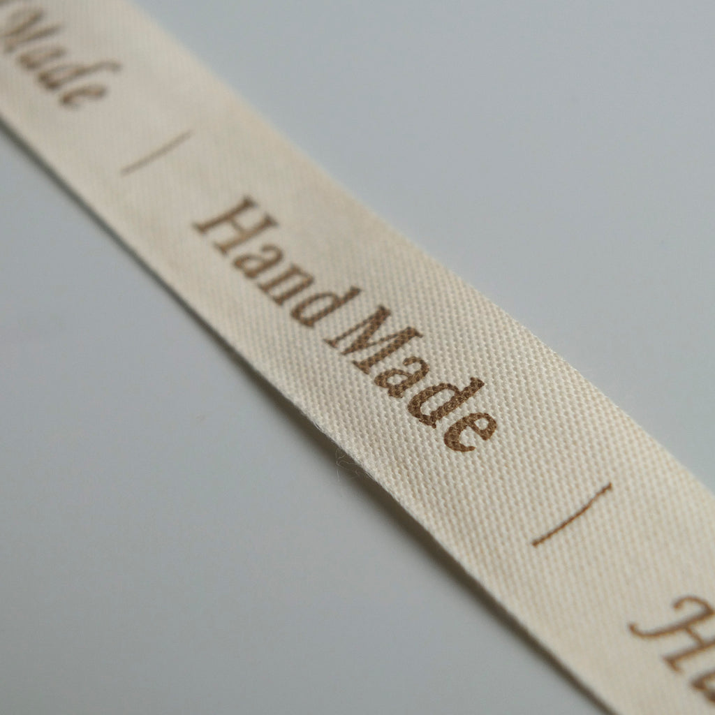2 metres of Cream Cotton Ribbon with Hand Made Lettering - 16mm wide