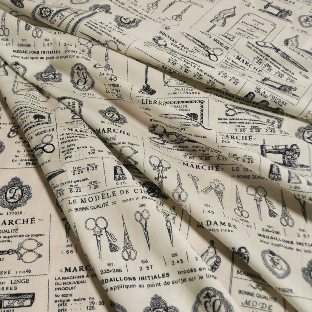 Vintage Style Sewing Print - 100% Cotton Poplin