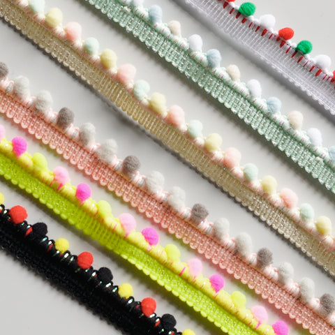 Mini Pom Pom Bobble Sparkle Trim - 6 colours